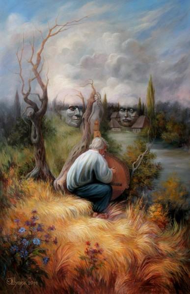 Одна из картин Шупляка - Кобзарь (Портрет тараса Шевченко) 1992 г.