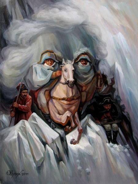 Одна из картин Олега Шупляка - Переход Суворова в Альпы и обратно 2011 г.