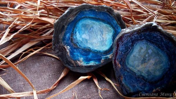 Фотогррафия мыла в виде голубого агата