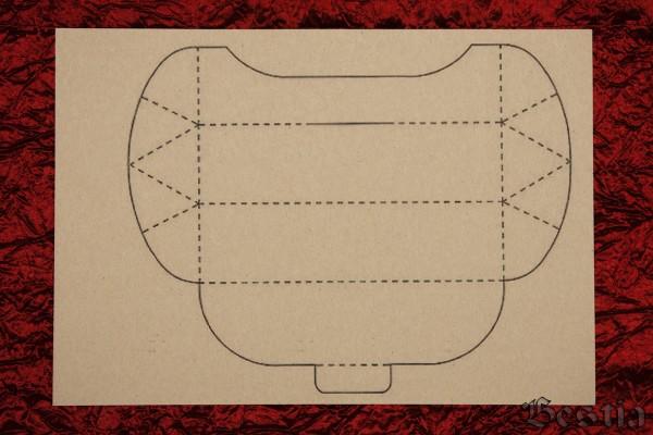 Схема коробочки из красного картона