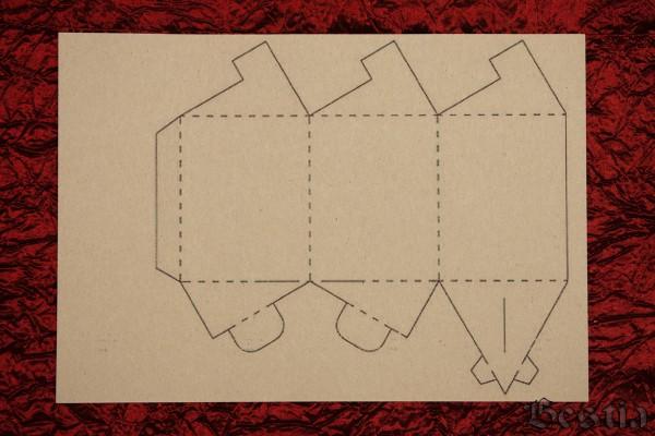 Схема коробочки из желтого картона