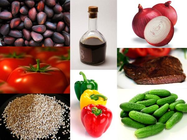 Ингредиенты салата с говядиной