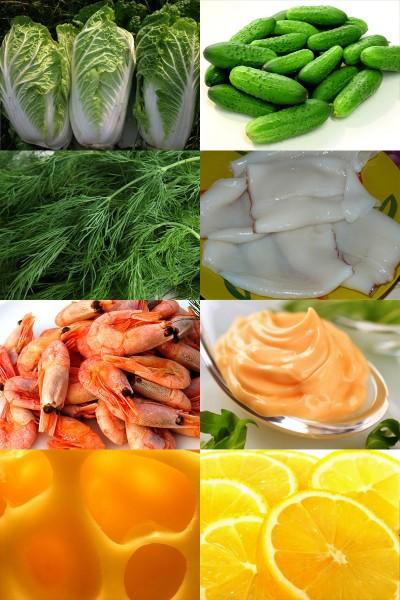 Ингредиенты салата с креветками