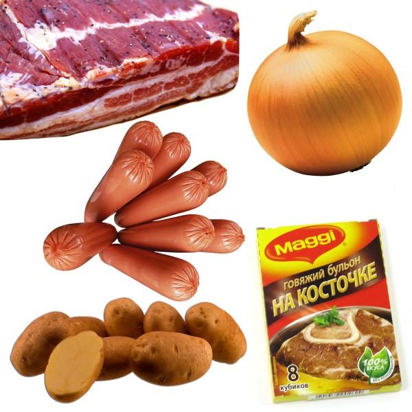 Овощное рагу с сосисками и беконом