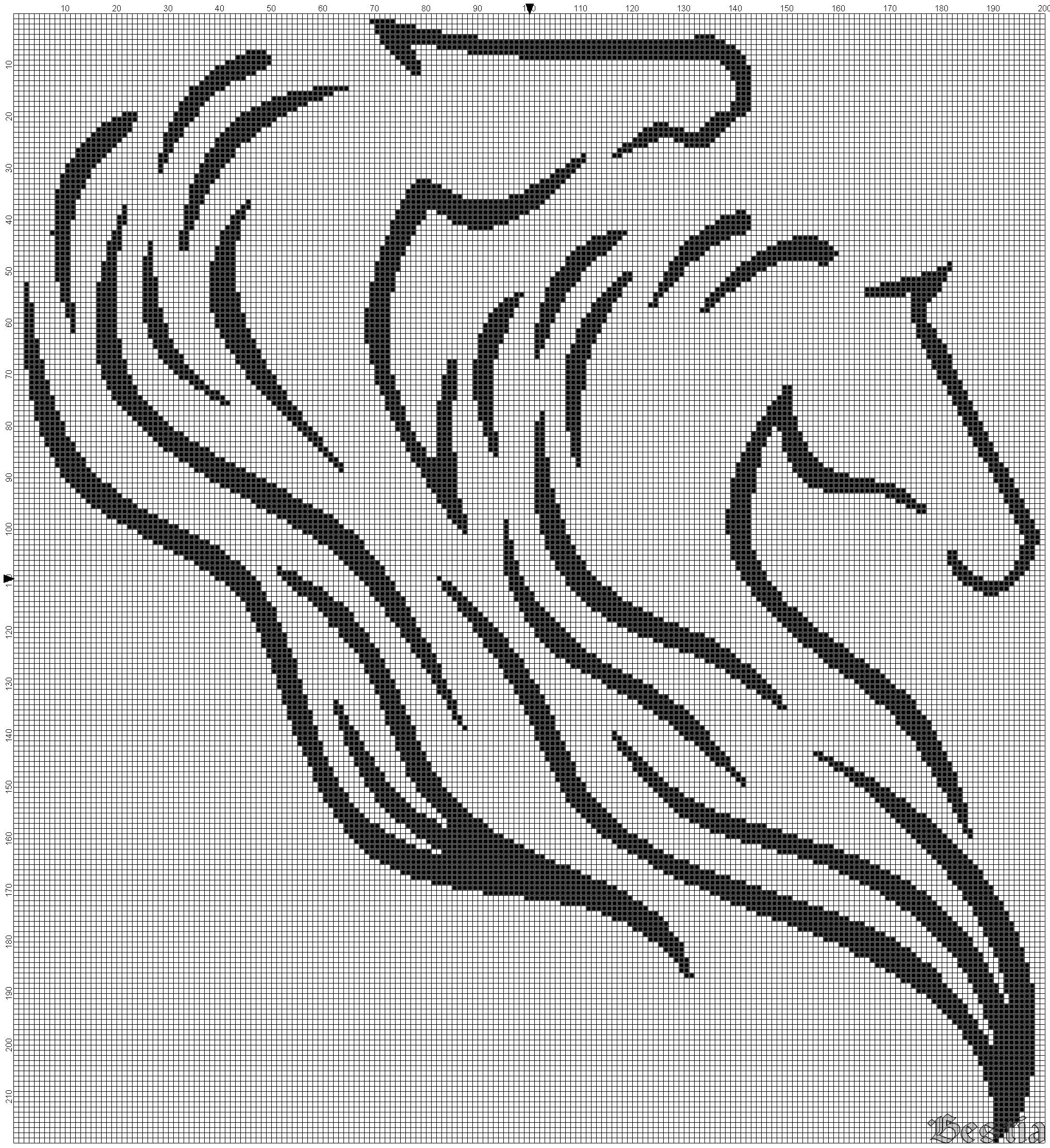 схема для вышивки «лошади»