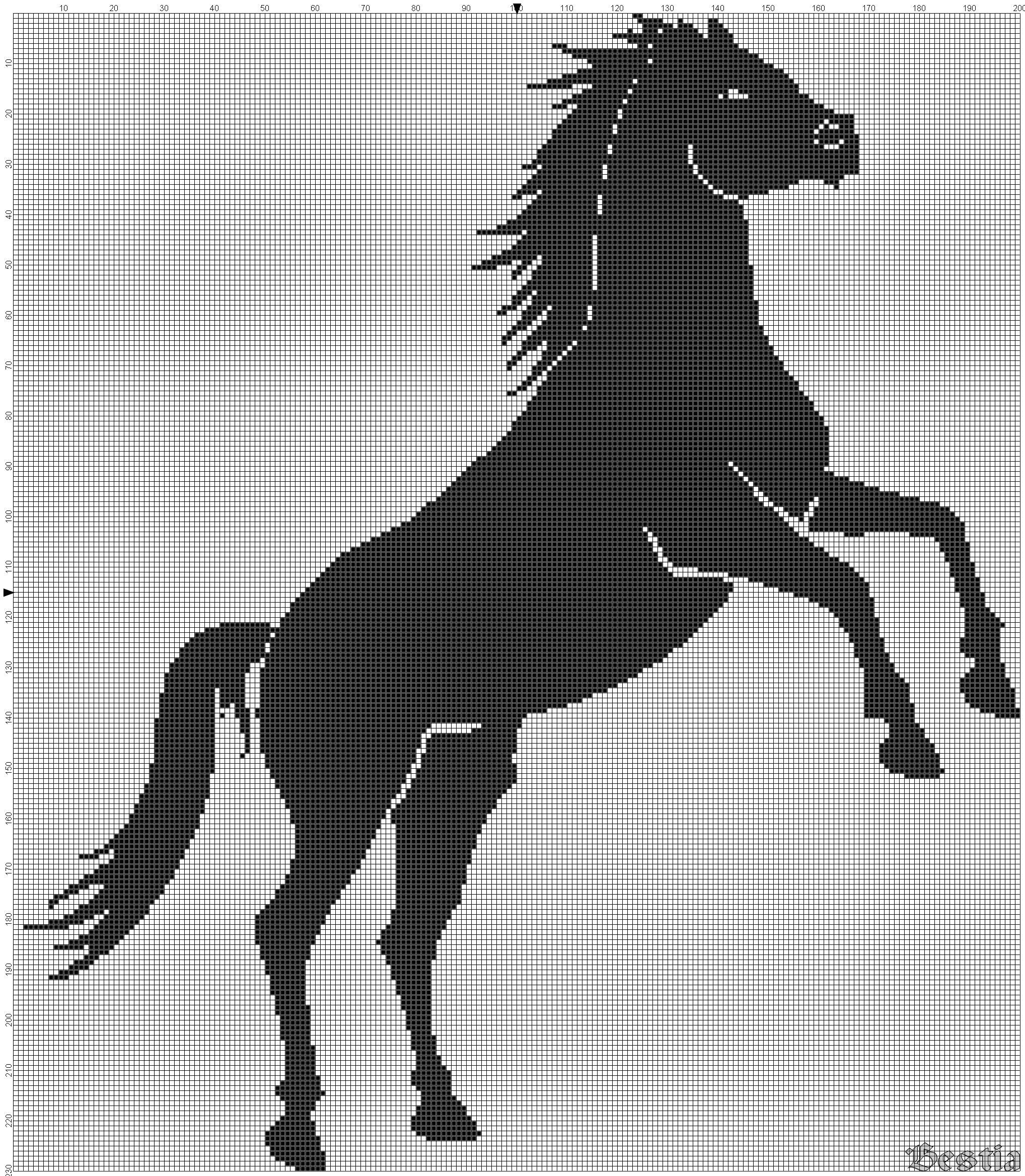 Схема вышивки крестом черной лошади фото 282