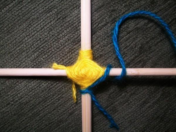 Обматывание синей ниткой