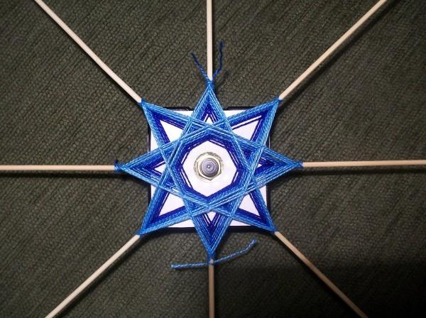 Оплетение синей и голубой нитью