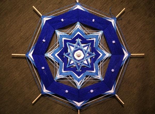 Плетение синим по кругу
