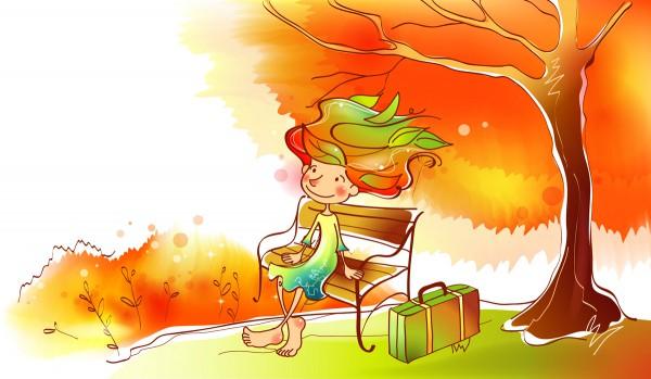 Девочка на скамейке