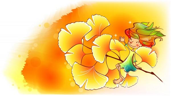 Девочка с желтыми листьями