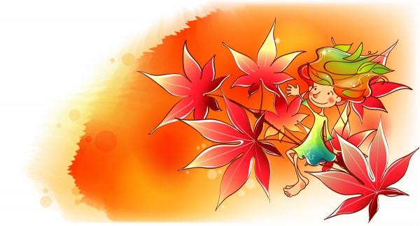 Девочка на ветке с красными листьями