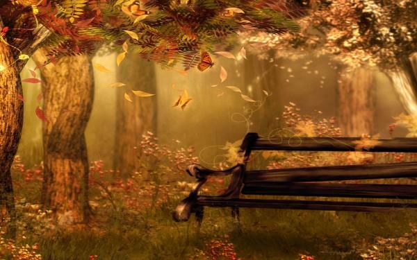Скамья на фоне осени