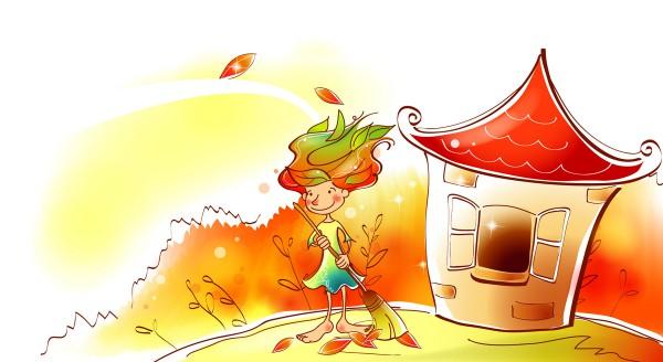 Девочка сгребает листву
