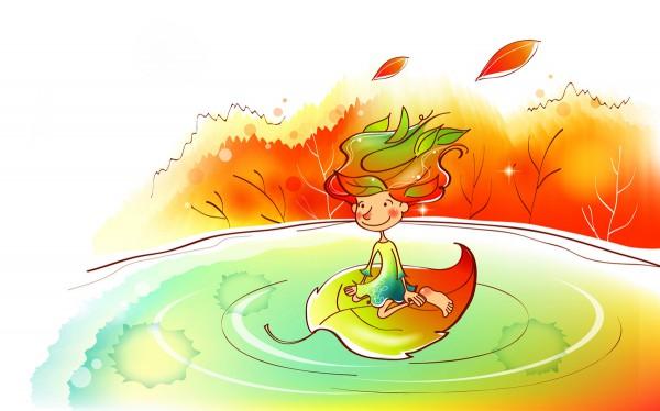 Девочка плывет по воде
