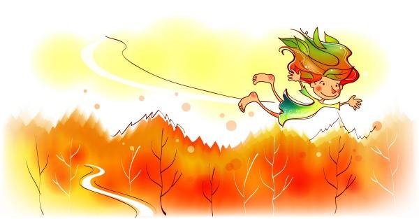 Девочка летит над лесом