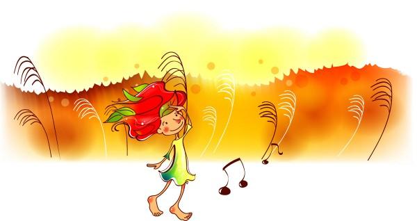 Девочка напевает мелодию