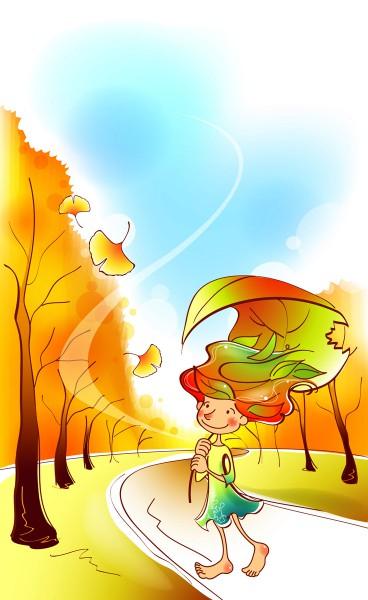 Девочка гуляет в парке
