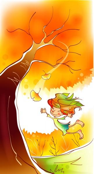 Девочка и листопад