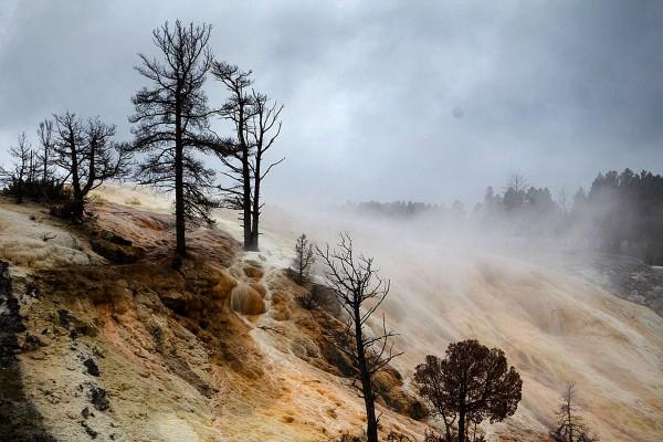Пейзаж в долине с гейзерами