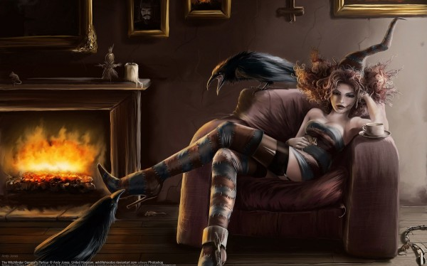 Ведьма перед камином